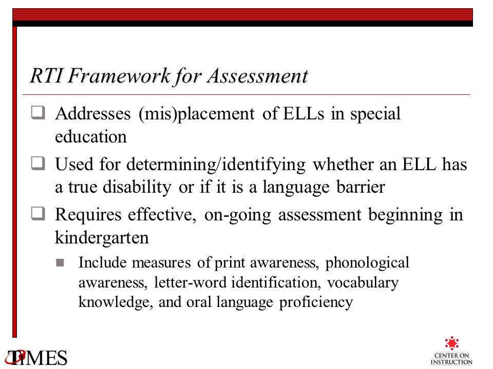 RTI Framework for Assessment