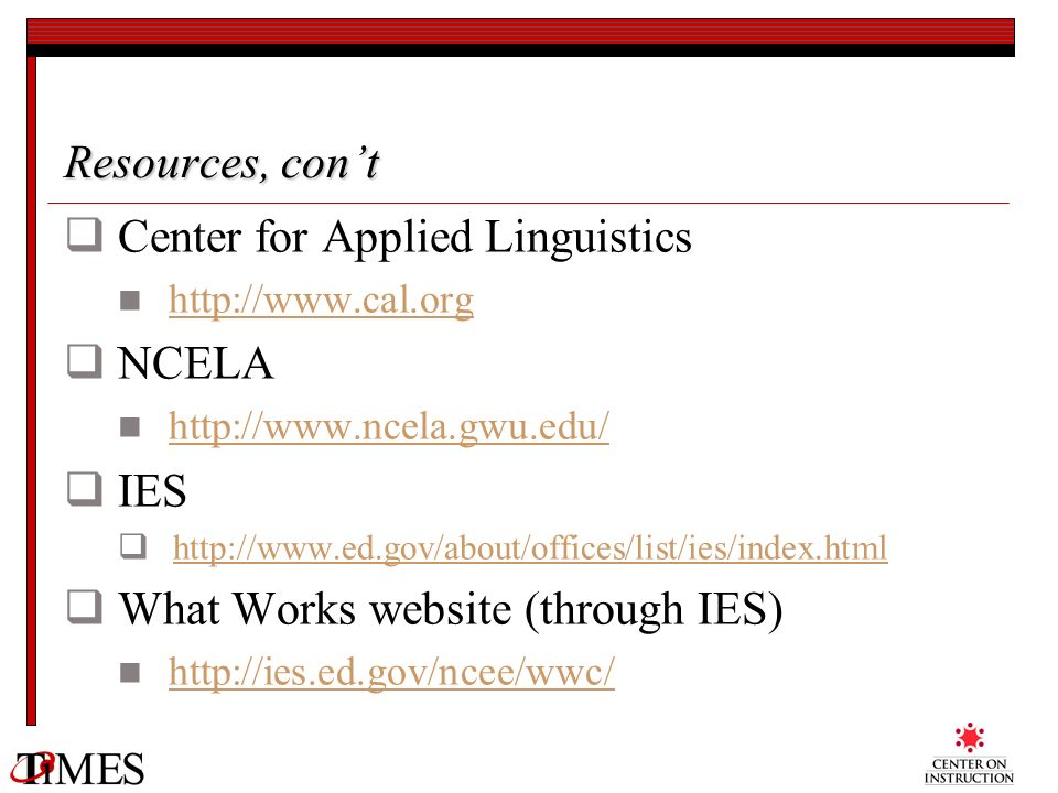 Center for Applied Linguistics NCELA IES