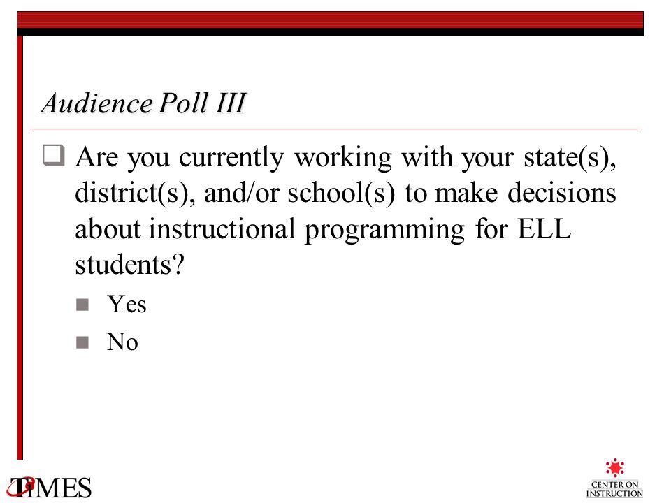 Audience Poll III