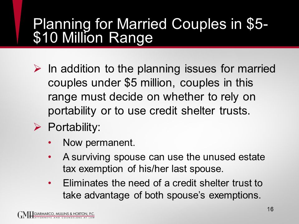 Planning for Married Couples in $5- $10 Million Range