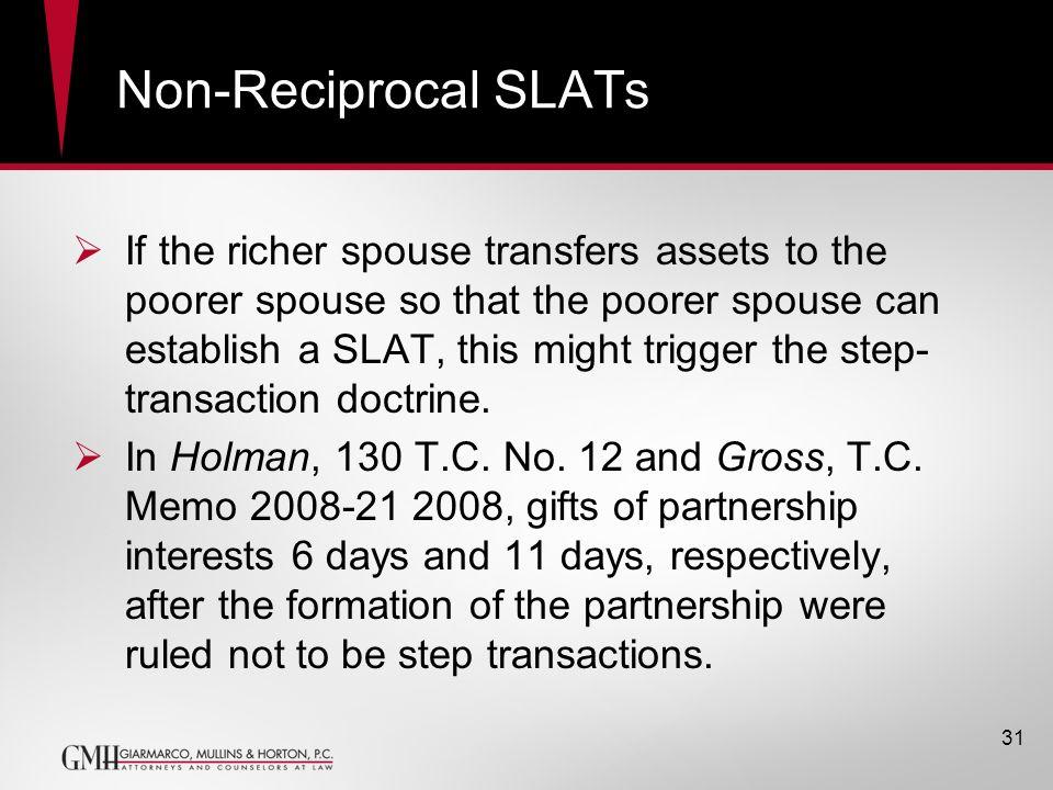 Non-Reciprocal SLATs