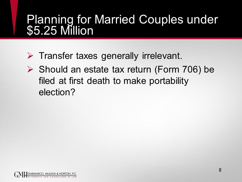 Planning for Married Couples under $5.25 Million