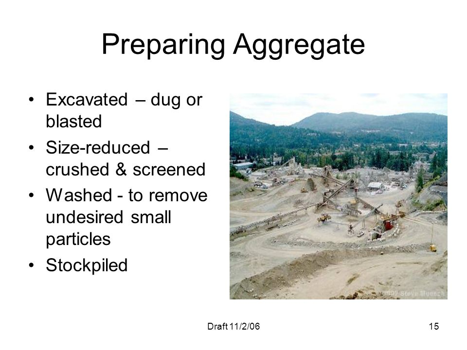 Preparing Aggregate Excavated – dug or blasted