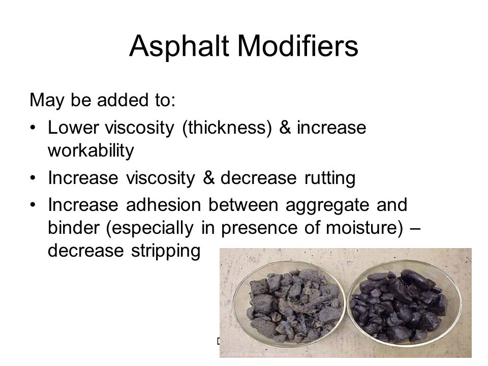 Asphalt Modifiers May be added to: