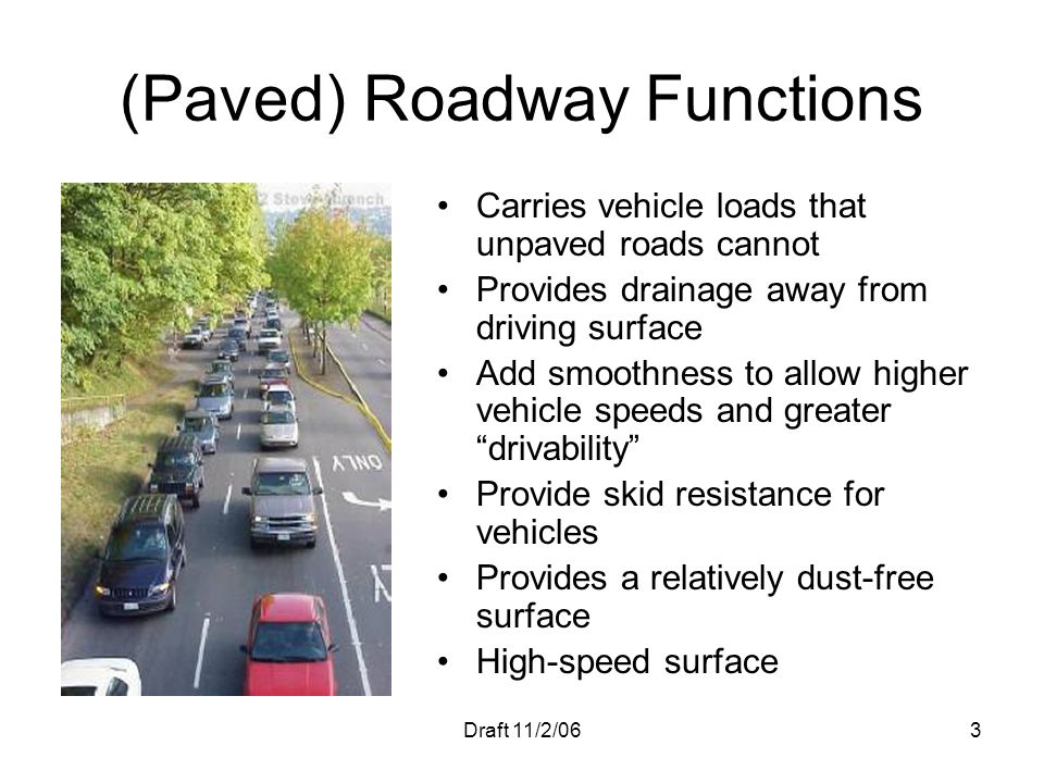 (Paved) Roadway Functions