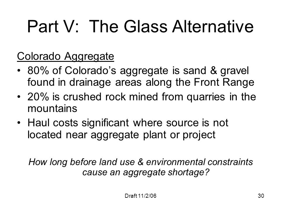 Part V: The Glass Alternative