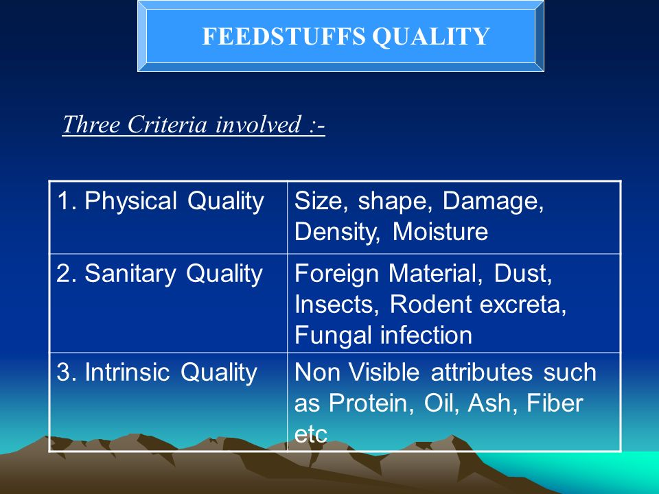 FEEDSTUFFS QUALITY Three Criteria involved :- 1. Physical Quality. Size, shape, Damage, Density, Moisture.