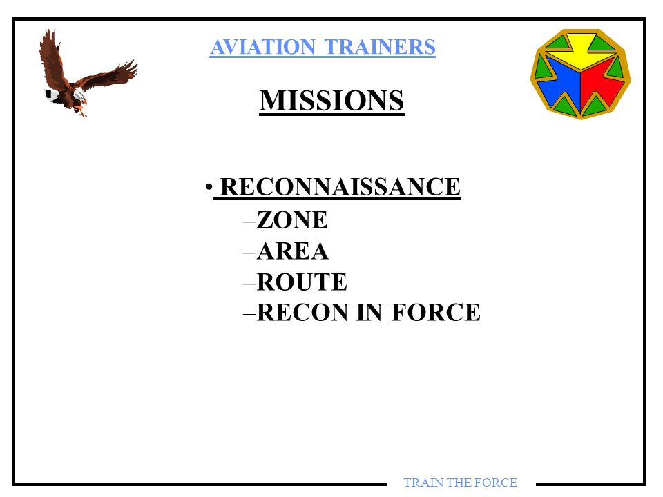 MISSIONS RECONNAISSANCE ZONE AREA ROUTE RECON IN FORCE