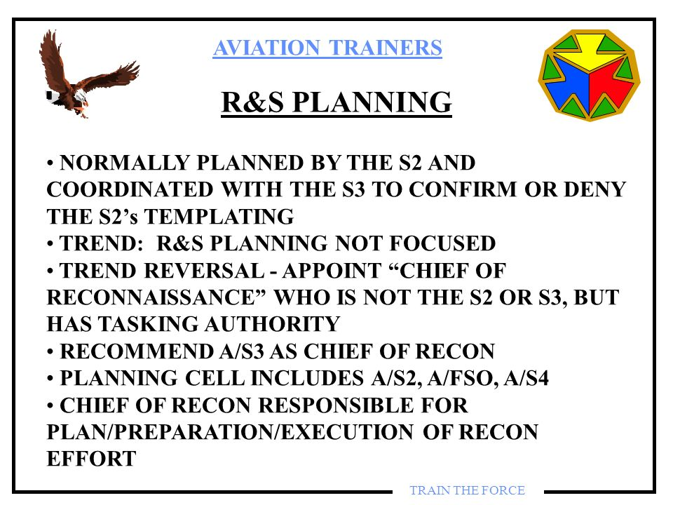 R&S PLANNING NORMALLY PLANNED BY THE S2 AND COORDINATED WITH THE S3 TO CONFIRM OR DENY THE S2's TEMPLATING.