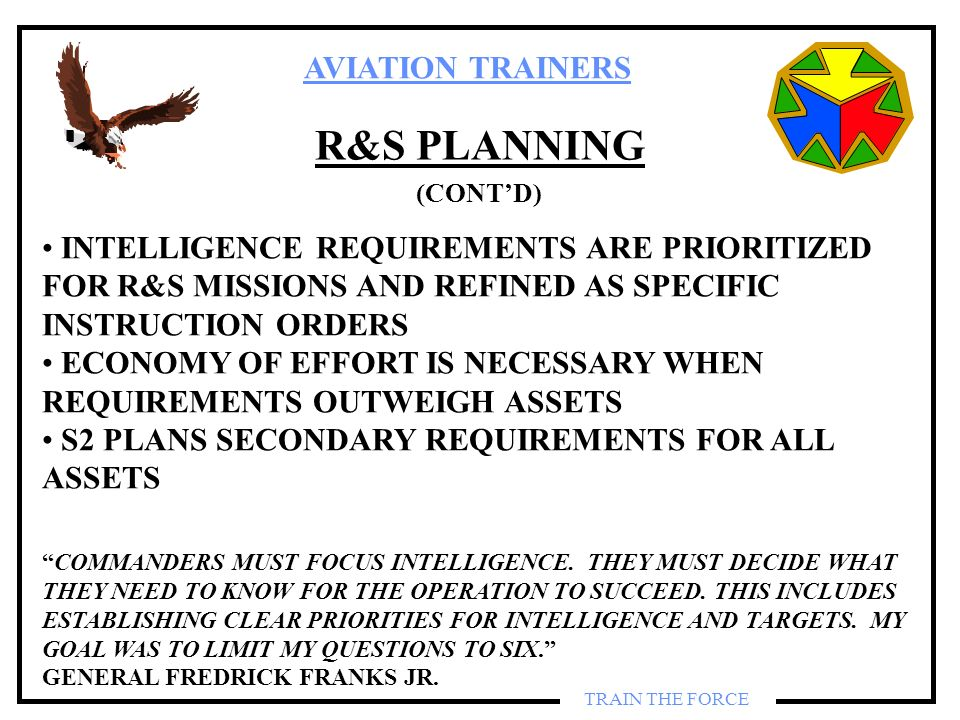 R&S PLANNING (CONT'D) INTELLIGENCE REQUIREMENTS ARE PRIORITIZED FOR R&S MISSIONS AND REFINED AS SPECIFIC INSTRUCTION ORDERS.