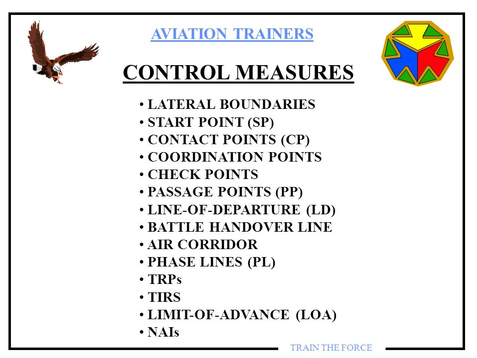 CONTROL MEASURES LATERAL BOUNDARIES START POINT (SP)