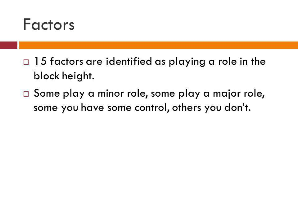 Factors 15 factors are identified as playing a role in the block height.