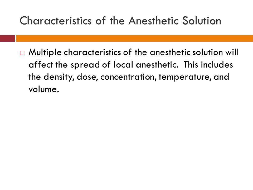 Characteristics of the Anesthetic Solution
