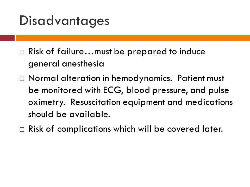 Disadvantages Risk of failure…must be prepared to induce general anesthesia.
