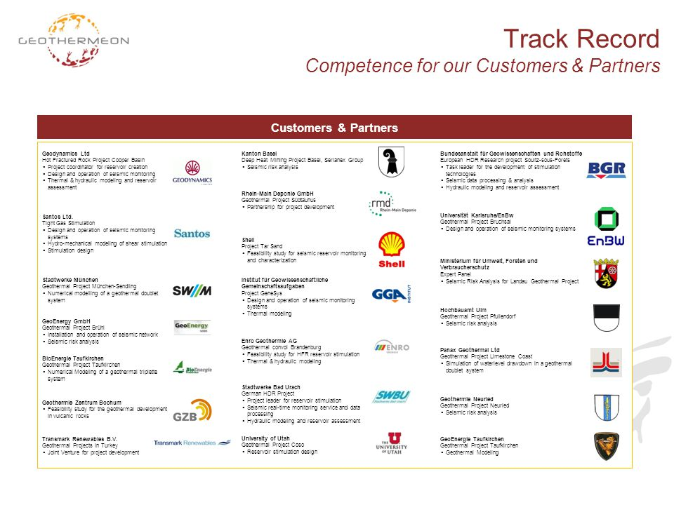Track Record Competence for our Customers & Partners