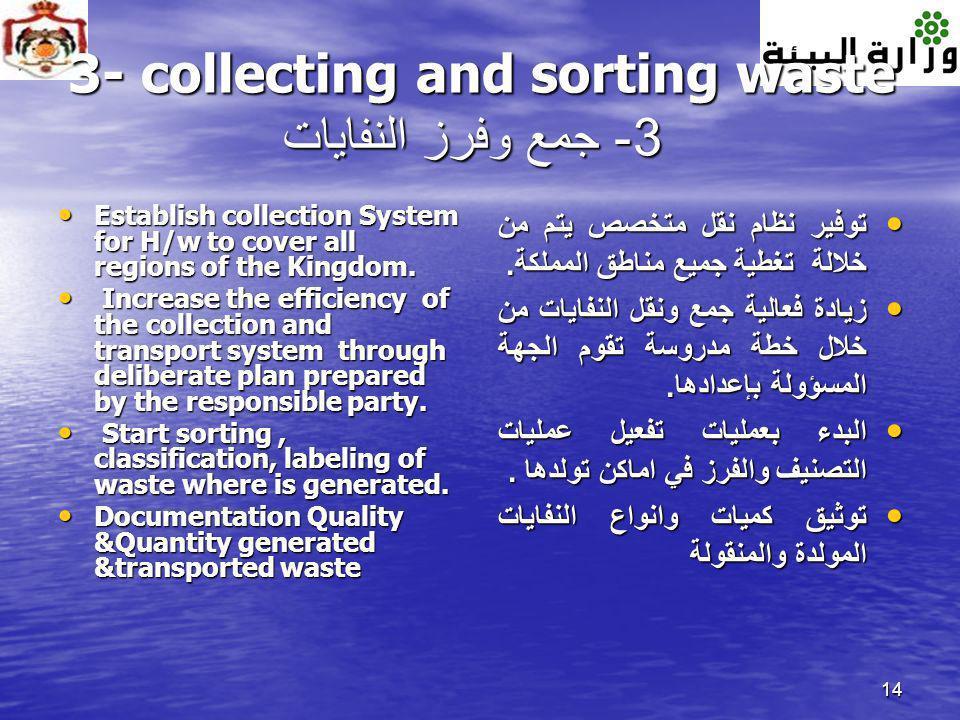 3- collecting and sorting waste 3- جمع وفرز النفايات