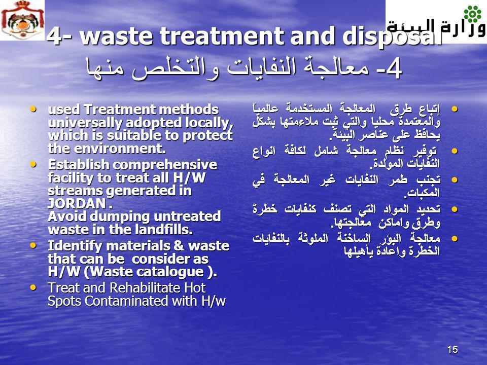 4- waste treatment and disposal 4- معالجة النفايات والتخلص منها