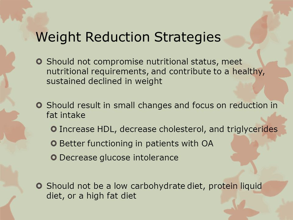 Weight Reduction Strategies