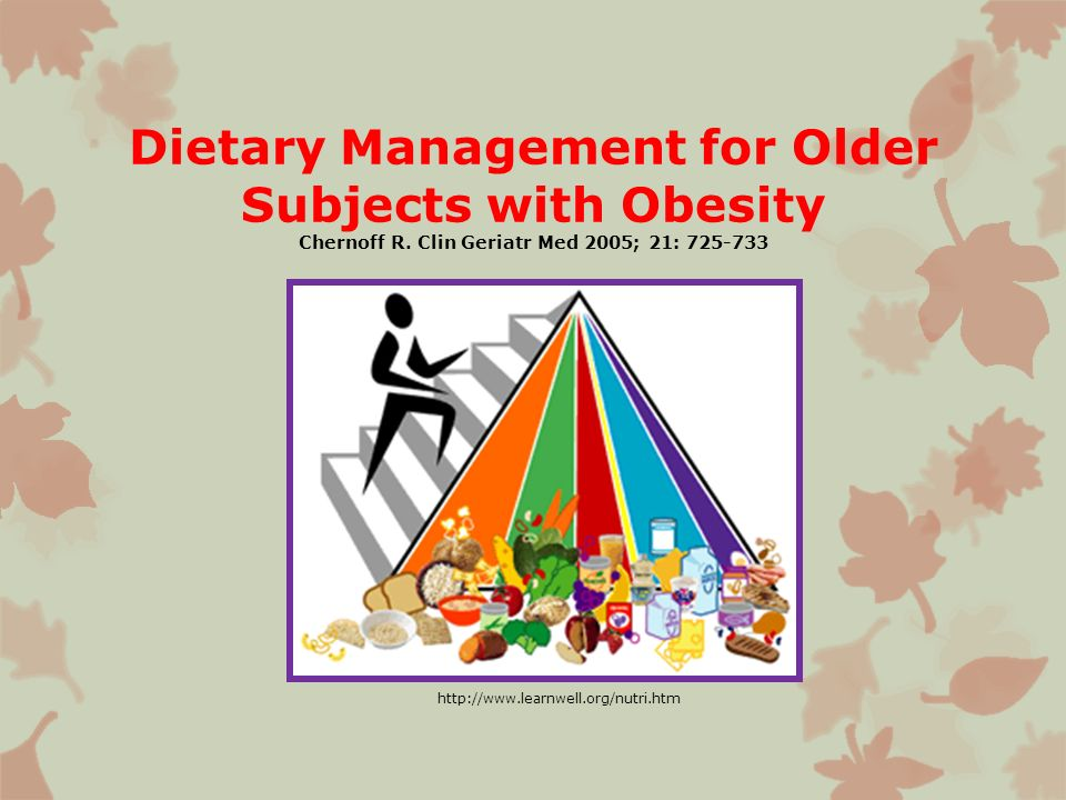 Dietary Management for Older Subjects with Obesity Chernoff R