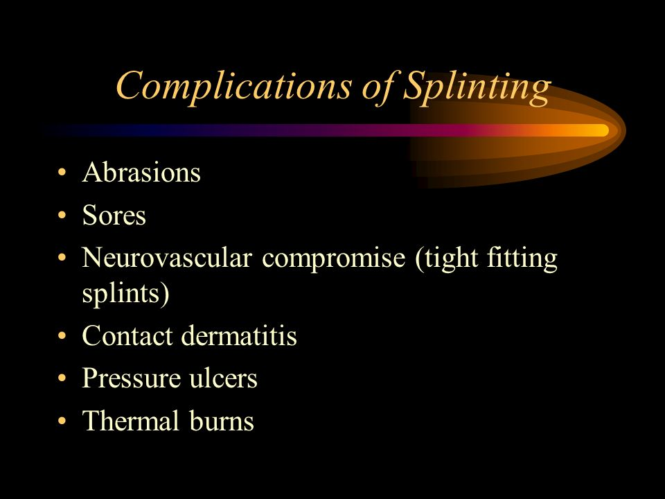 Complications of Splinting