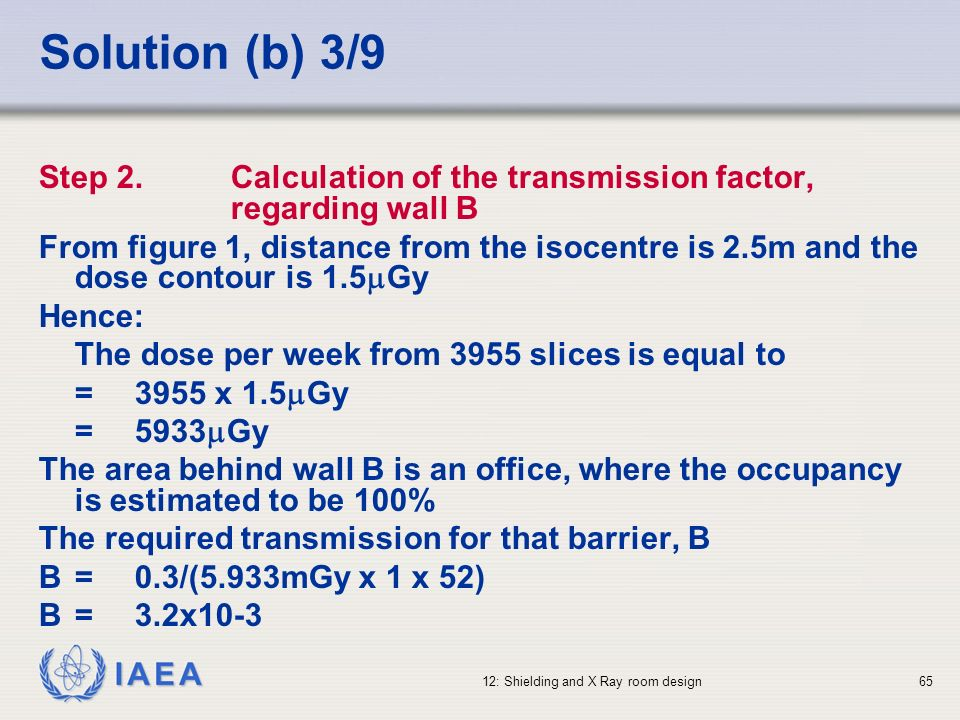 Solution (b) 3/9 Step 2. Calculation of the transmission factor, regarding wall B.