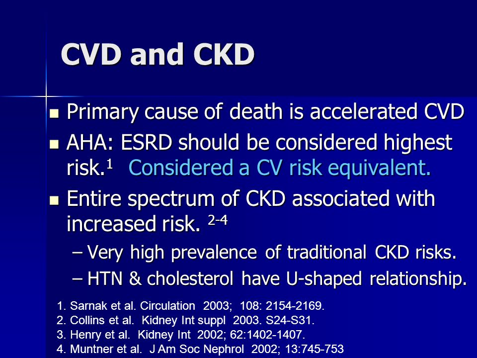 CVD and CKD Primary cause of death is accelerated CVD