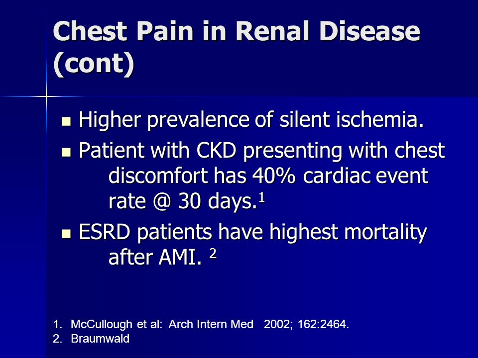 Chest Pain in Renal Disease (cont)