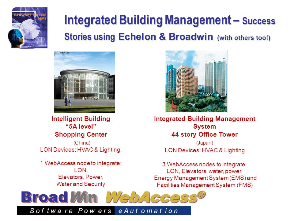 Integrated Building Management – Success Stories using Echelon & Broadwin (with others too!)