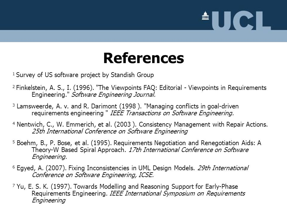 References 1 Survey of US software project by Standish Group