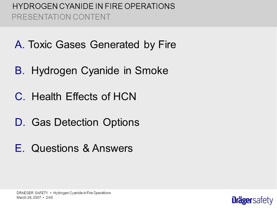 Toxic Gases Generated by Fire Hydrogen Cyanide in Smoke
