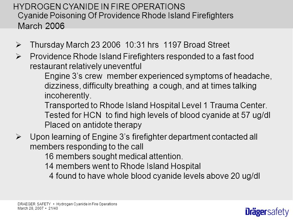 Cyanide Poisoning Of Providence Rhode Island Firefighters March 2006