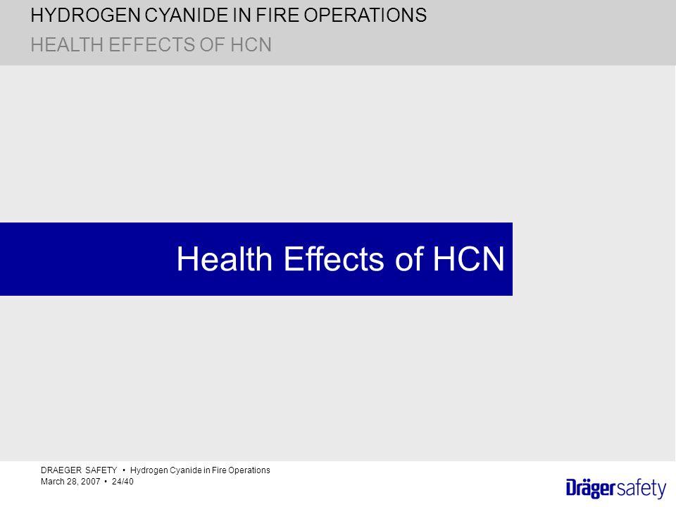 Health Effects of HCN HEALTH EFFECTS OF HCN