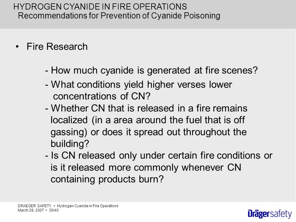 Recommendations for Prevention of Cyanide Poisoning
