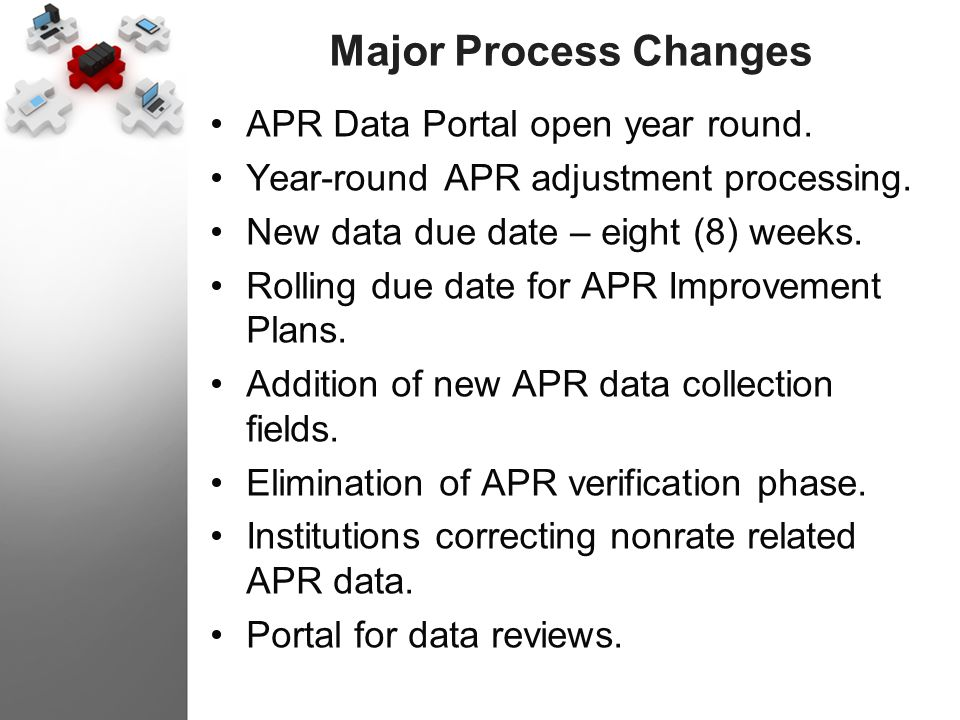Major Process Changes APR Data Portal open year round.