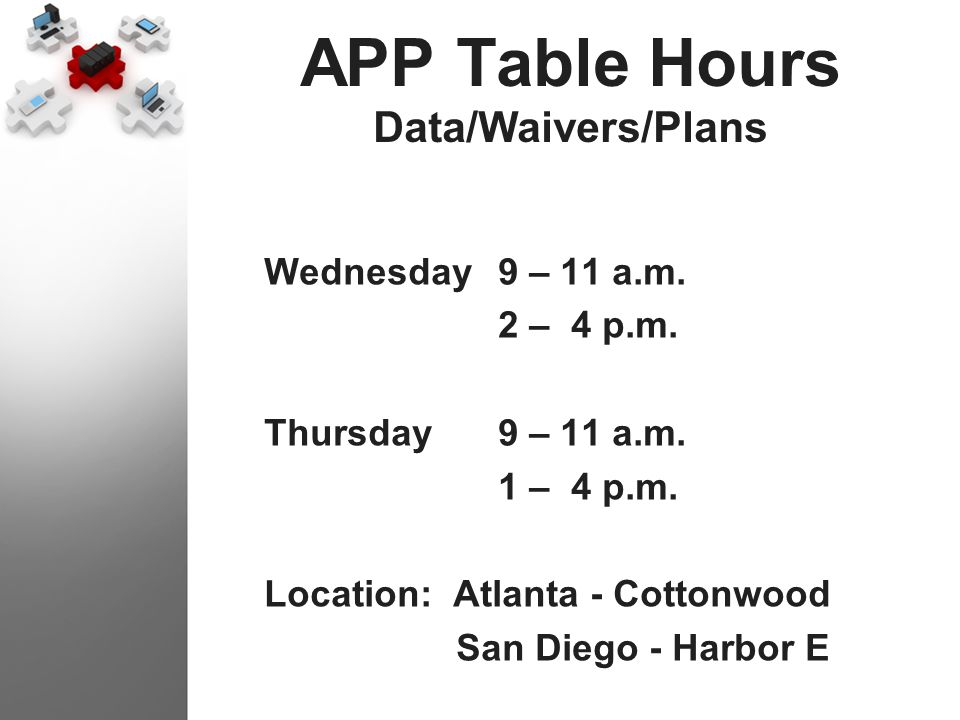 APP Table Hours Data/Waivers/Plans