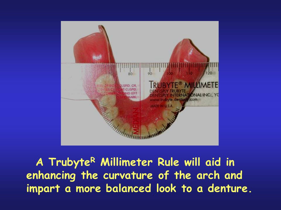 While nobody is perfectly bilaterally symmetrical, it is commonly accepted that the closer someone is to being that way the more aesthetically pleasing they are in their appearance. This ruler is a valuable tool in providing a simple means to enable the technician to design dentures that are very close to being bilaterally symmetrical. This has broader implications than aesthetics. It is much easier to establish bilateral balance in all excursive movements in a set of complete dentures that are bilaterally symmetrical in their tooth arrangement than it is in a set that is not symmetrical. Sadly, it is impossible establish this harmony in many patients, and this is where the zero-degree, monoplane setup is very useful.