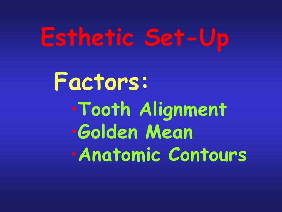 Esthetic Set-Up Factors: Tooth Alignment Golden Mean Anatomic Contours