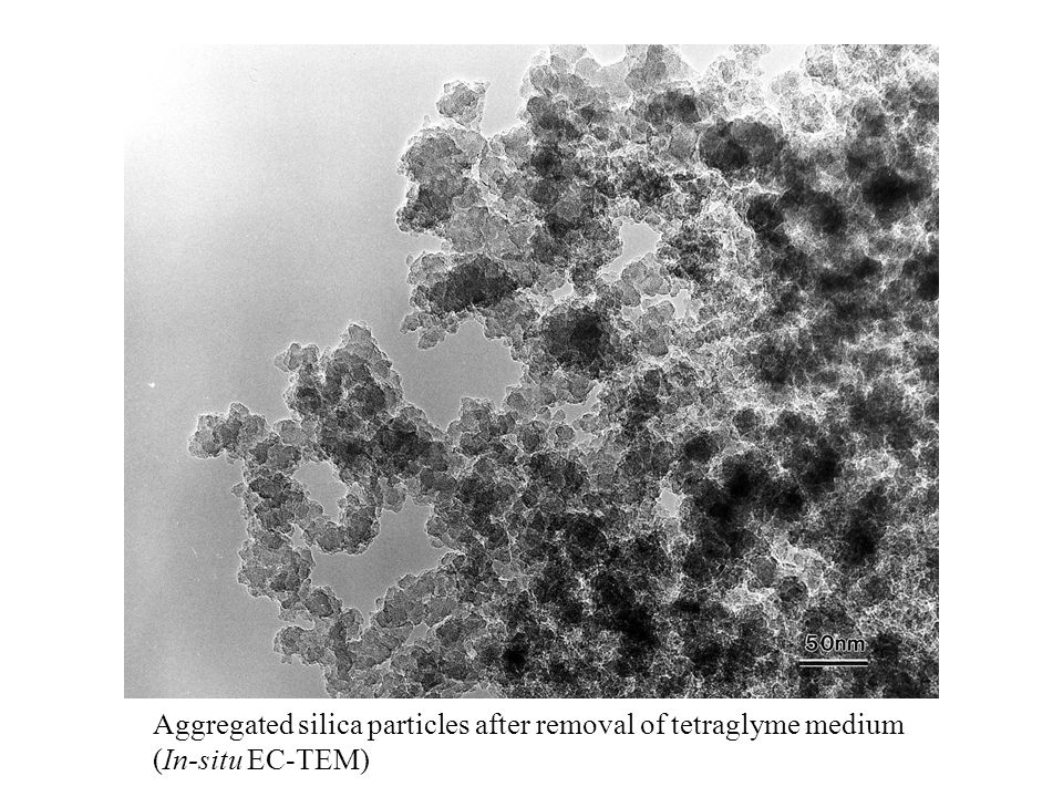 Aggregated silica particles after removal of tetraglyme medium