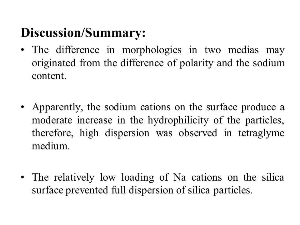 Discussion/Summary: The difference in morphologies in two medias may originated from the difference of polarity and the sodium content.