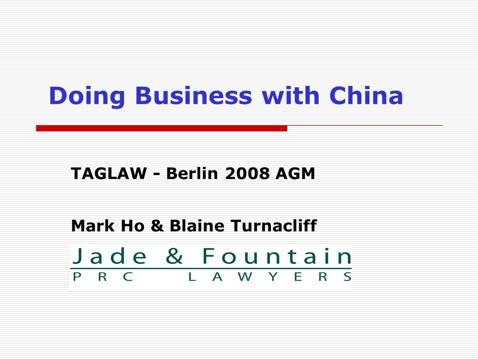 Doing Business with China