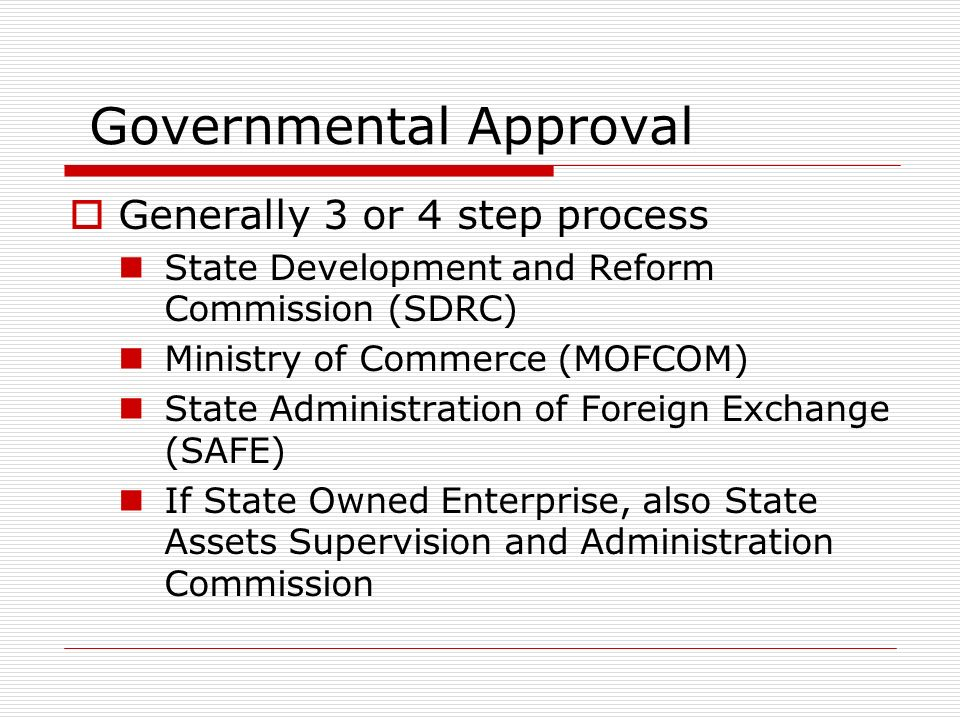Governmental Approval