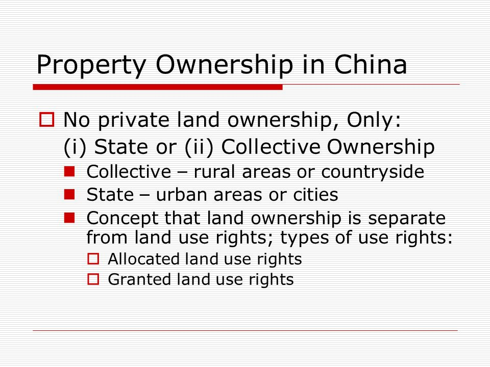 Property Ownership in China