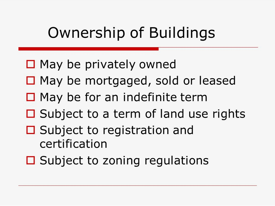 Ownership of Buildings