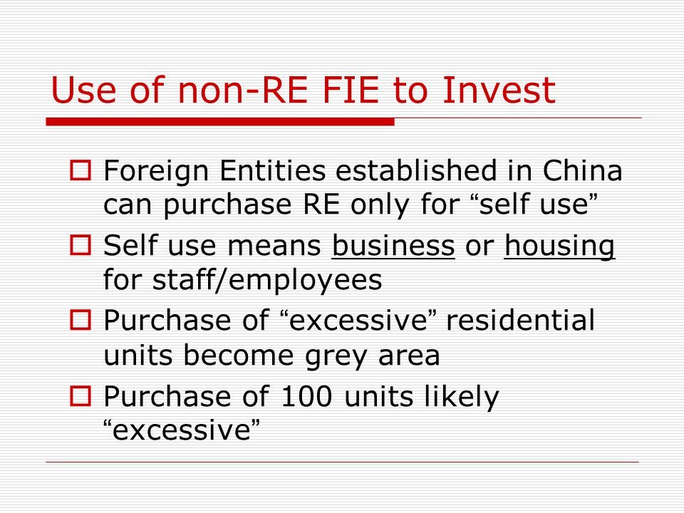 Use of non-RE FIE to Invest