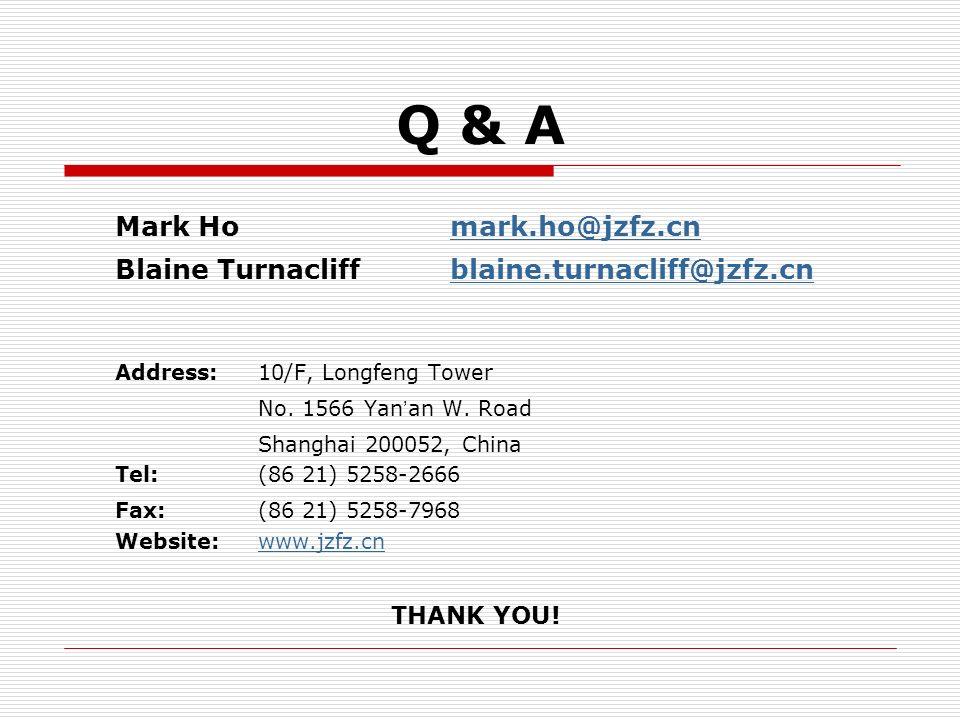 Q & A Mark Ho mark.ho@jzfz.cn