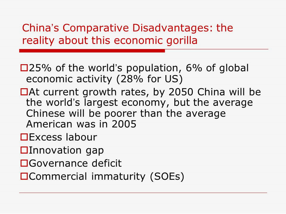 China's Comparative Disadvantages: the reality about this economic gorilla