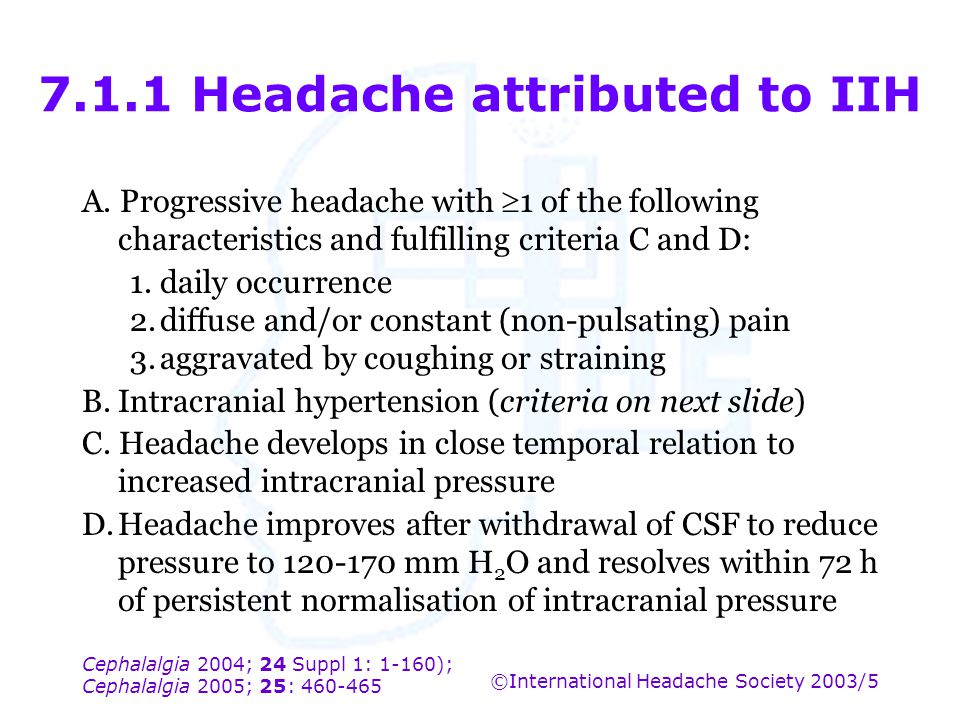 7.1.1 Headache attributed to IIH