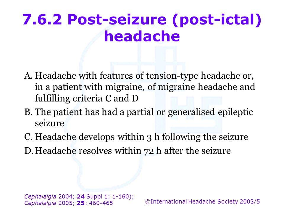 7.6.2 Post-seizure (post-ictal) headache