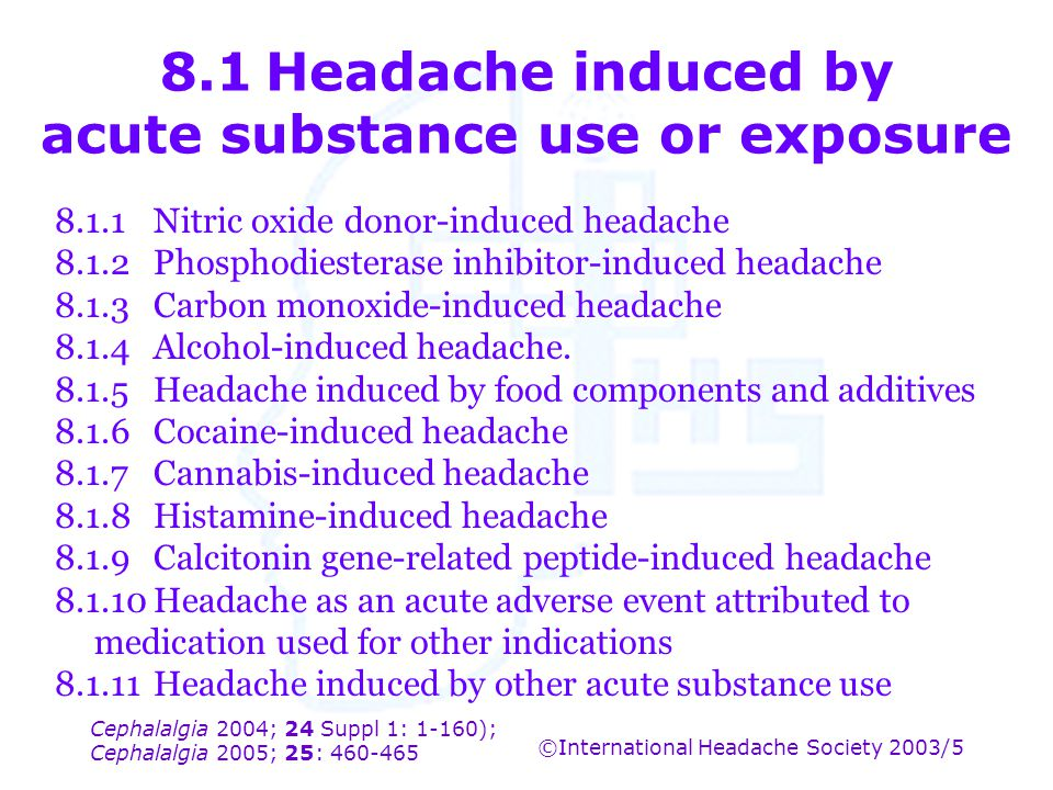 8.1 Headache induced by acute substance use or exposure