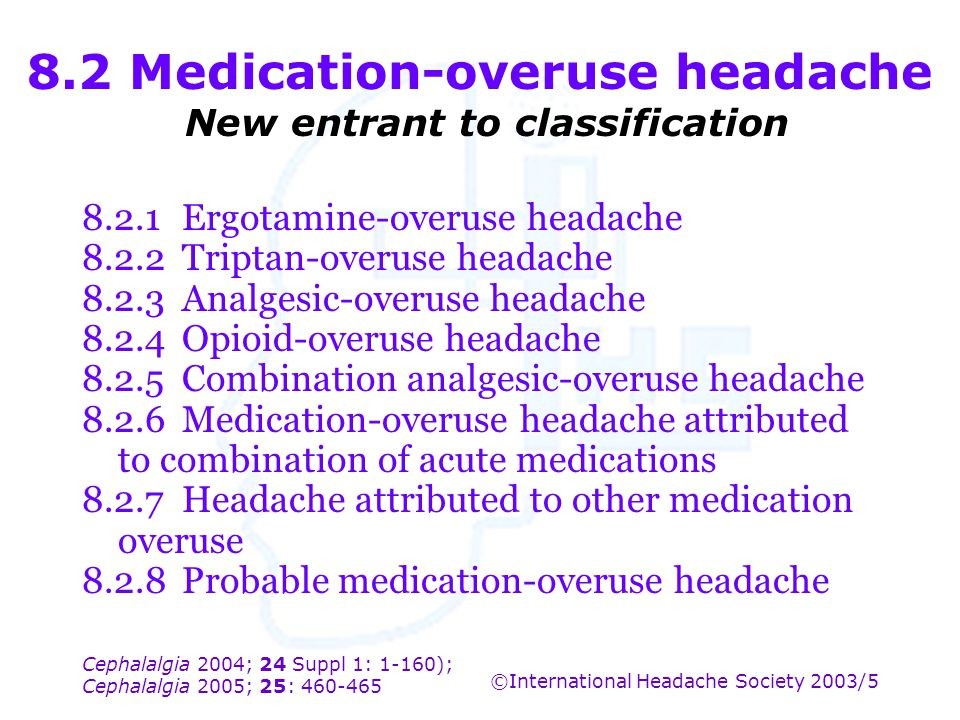 8.2 Medication-overuse headache New entrant to classification